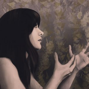 A digital painting of a woman with her hands raised