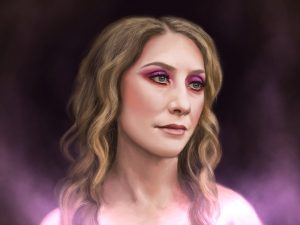 Digital portrait of Mary Ann with purple glowing mist.