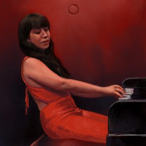 Digital pastel sketch of Lacy Rose in a red jumpsuit.