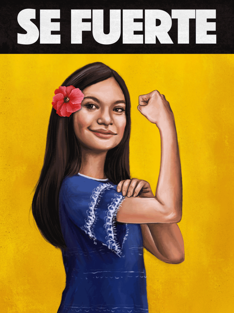 A Mexican-American girl flexes her arm muscles.