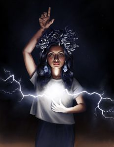 A Mexicana girl with a crown of flowers explodes lighting, searching and finding, from her heart.