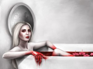 The monstress Ivanka sits in a bath of blood upon which hibiscus, or, flor de MAGA, float. Child's handprints smear the condensation on the mirror.