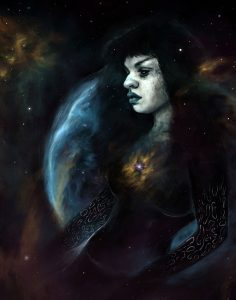 A cosmic being floating through space