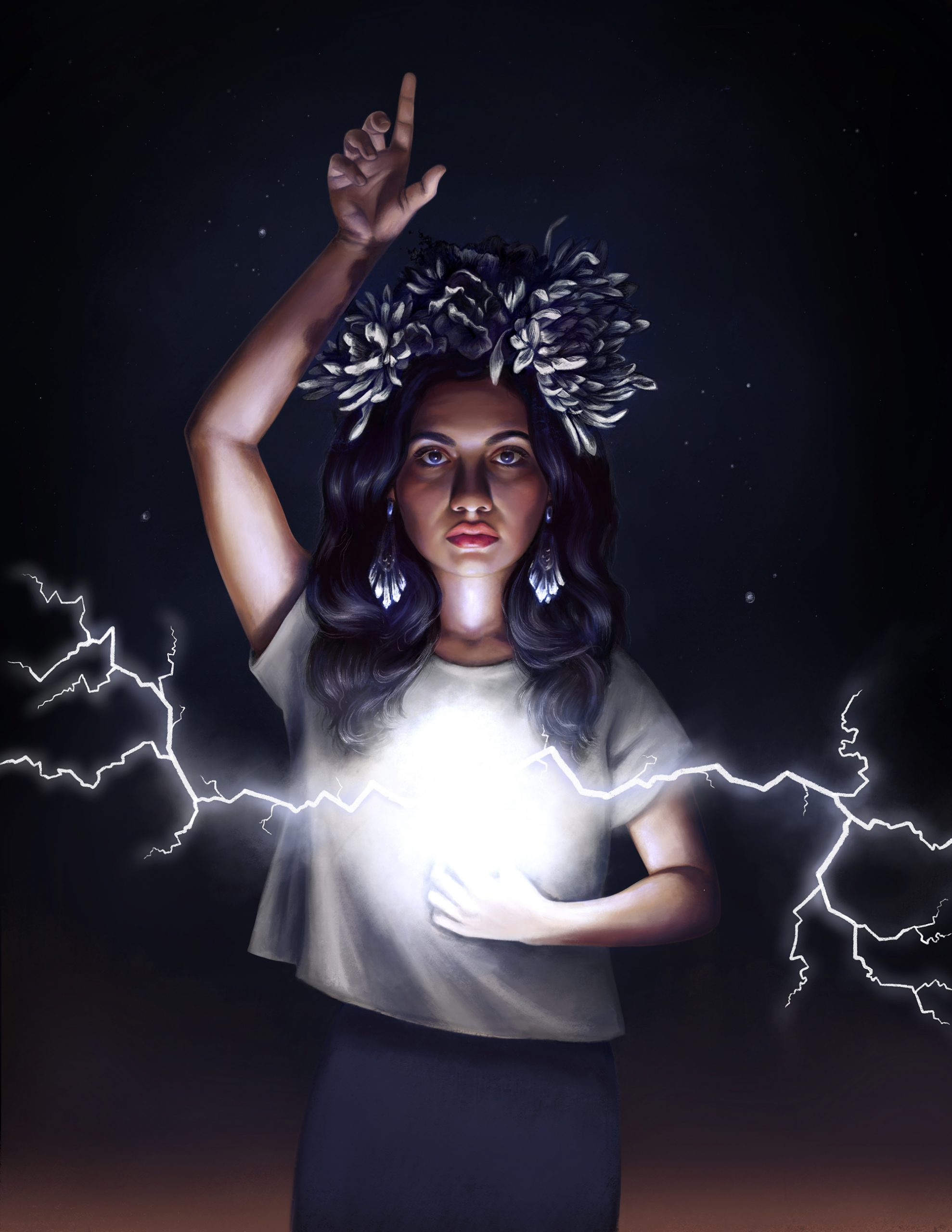 a young Mexican woman pointing to her heart, which is exploding out with lightning