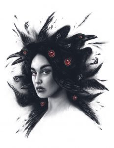 "Gothic illustration of woman with ravens in her hair, titled ""Plumage"""